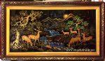 Tranh suối nai – S302 ( sơn mài đắp nổi dát vàng )
