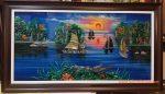 Tranh khảm trai sơn mài, Vịnh Hạ Long-Thuyền căng Buồm ra Khơi-SM305