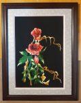 Tranh thêu tay- Hoa hồng-T034