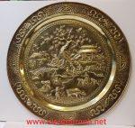 Tranh mâm đồng vàng chạm khảm tinh xảo – Đồng quê cấy cầy -A219