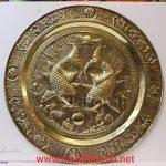 Mâm đồng vàng chạm khảm – Lý Ngư Vọng Nguyệt ( cặp cá Chép) A220