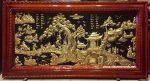 Tranh đồng tấm liền khung gỗ, Đồng Quê -A105