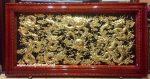 Tranh đồng tấm liền khung gỗ, Cửu Long Chầu Nguyệt – A173