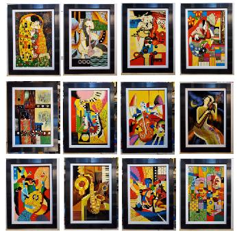 12 Tác phẩm tranh sơn mài trừu tượng – Nụ hôn đầu – Cây đàn ( Picasso) -SM309