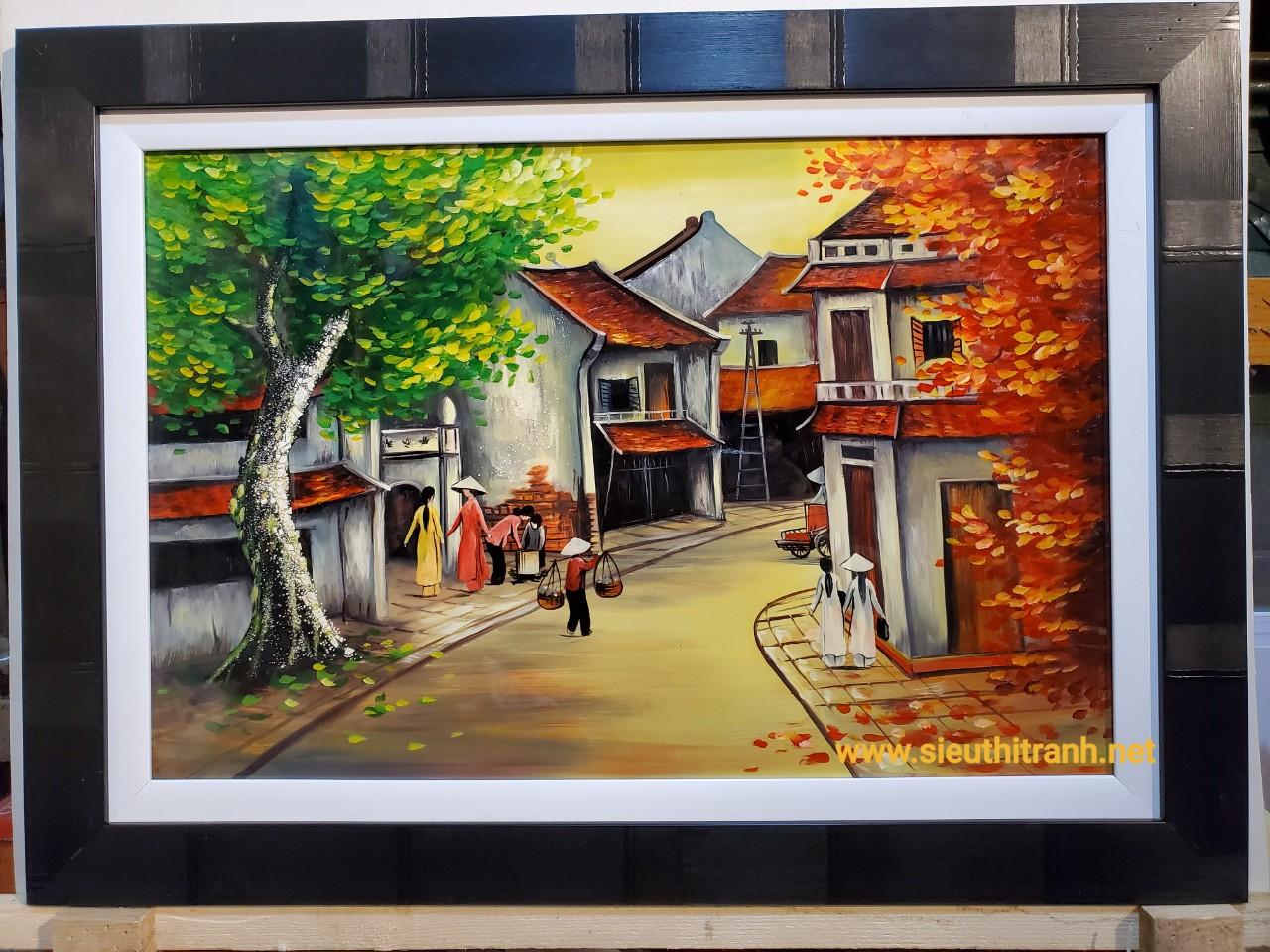 Tranh sơn mài vẽ – Phố cổ Hà Nội-SM161