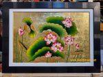 Tranh sơn mài đắp nổi tinh xảo – Hoa sen – SM308