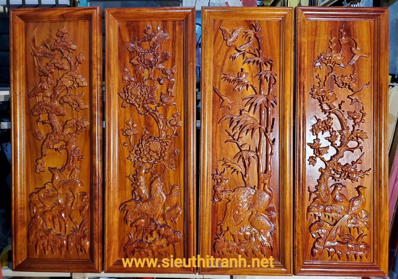 Tranh gỗ hương đục nổi – Tùng Cúc Trúc Mai -TG283