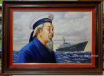 Tranh vẽ sơn dầu – Bác Hồ thăm chiến sy Hải Quân Việt Nam -S259