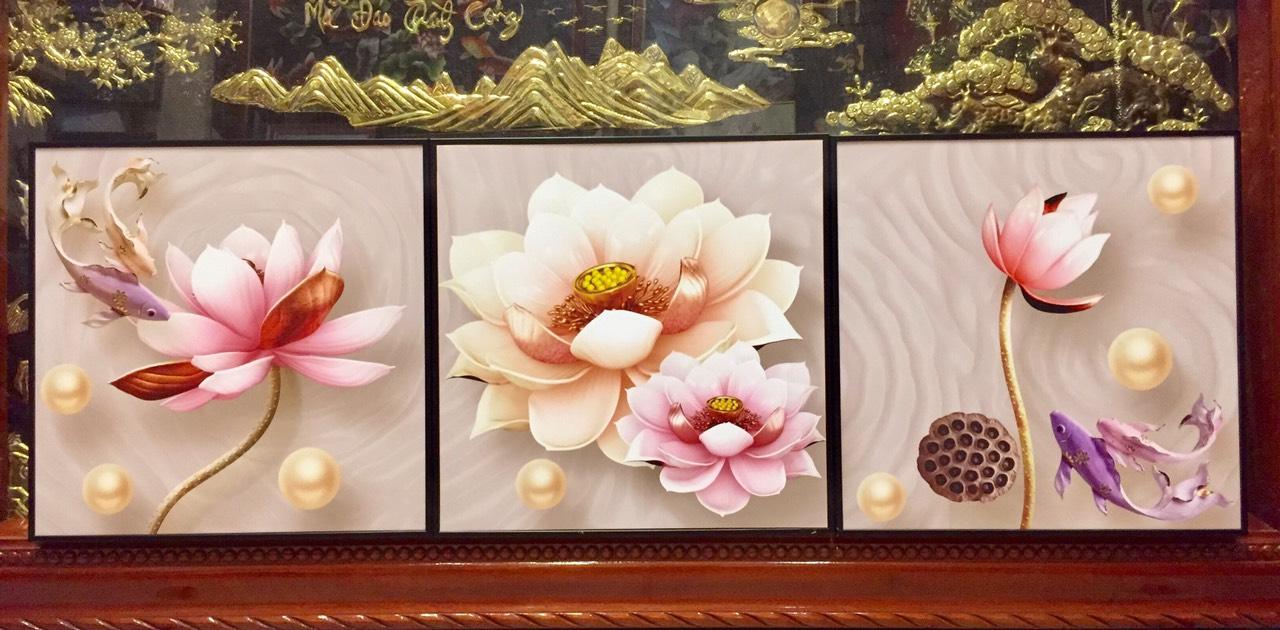 TRanh bộ hoa sen 3 bức – IN149